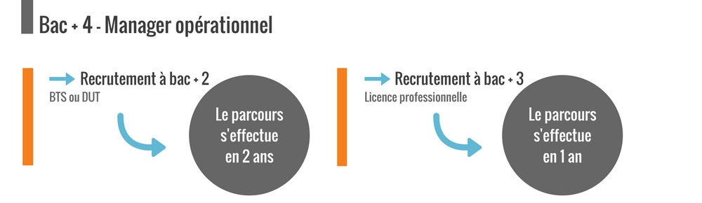Bac + 4, les niveaux de recrutement : BTS ou licence professionnelle